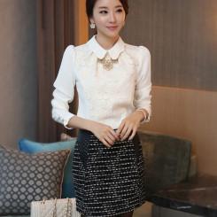 韩版雪纺女式长袖衬衫搭配 休闲短袖衬衫女 网购淘宝网女装白衬衫