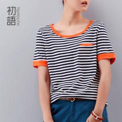 【聚75.8元】初语女装夏装2014新款 宽松条纹体恤黑白t恤女短袖潮