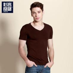 2014夏装新款莫代尔纯色V领男士短袖T恤