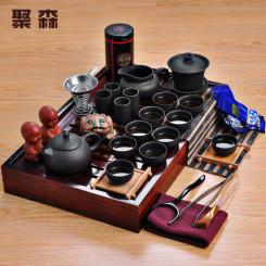 聚森 功夫茶具整套 紫砂 陶瓷茶具套装 实木茶盘