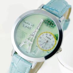 巴黎铁塔时尚石英表 学生防水手表(含DIY雕刻设计)