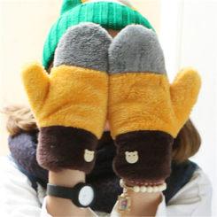 韩版珊瑚绒连指保暖手套 4色可选