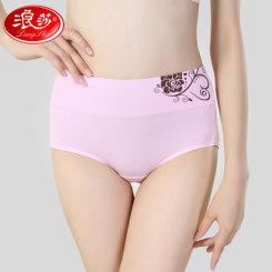 浪莎 女士棉质高腰收腹三角裤 性感内裤4条