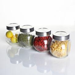爱乐优 不锈钢盖无铅玻璃调料罐 密封罐 储物罐套装 4只装透明玻璃罐