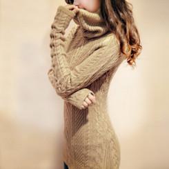 岚薇 麻花长款高领毛衣 女加厚打底针织衫 堆堆领长袖套头冬装外套 5色可选