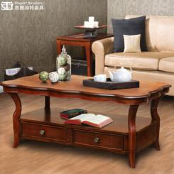 思图加特 式实木家具带抽屉茶几 田园茶几