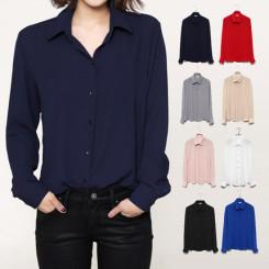 轩腾 春季新款雪纺衬衫 女式长袖韩版女装上衣 宽松显瘦打底衬衣
