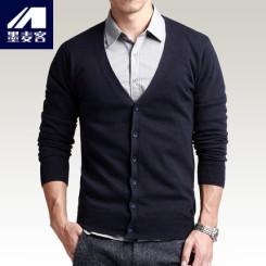 M-MAICCO墨麦客 2015春装新品男士针织开衫男装韩版修身毛衣薄外套