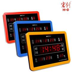 宏创 007 家用数码led万年历客厅卧室挂钟 节能方形电子钟表时钟