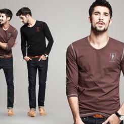KUEGOU酷衣购 西域粗犷个性男装绣标V领T恤