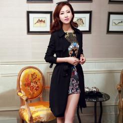 5E 2015春秋韩版女式中长款风衣 显瘦薄款雪纺外套