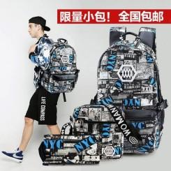 沃曼威斯 时尚潮韩版帆布双肩包 街头休闲男包中学生书包女背包629