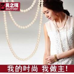 贝之珥 韩国时尚百搭多层珍珠长款毛衣项链