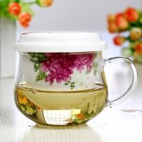 帝信 日式陶瓷过滤透明内胆泡茶杯 带盖耐热玻璃小花茶杯 4款可选