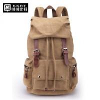 可可比特 旅行背包双肩包男女大容量书包中学生休闲电脑包防水复古帆布包 多色可选