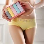 媚姬 女士纯棉性感蕾丝内裤 可爱中腰三角裤5条礼盒装 2色可选