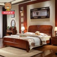 阿呆家居 中式全实木床橡木床 双人床1.5M 高箱储物床 卧室家具