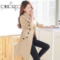 索耳 新款初秋装韩版修身显瘦经典潮中长款大衣双排扣外套女式风衣 多款可选