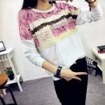 美嘉莉 2015韩版女装新品秋装上衣大码印花长袖T恤宽松打底衫 13款可选