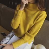 颜兰 韩版女士底摆开叉半高领套头毛衣 短款宽松针织衫打底衫 5色可选