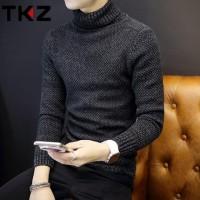 阿里年货节!tkz 韩版冬季新款纯色翻高领加厚修身男士毛衣针织衫 4色可选