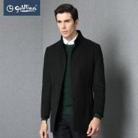 金利来 2015冬季男士羊毛针织立领商务轻便中长款毛呢大衣外套男装
