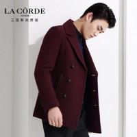 三弦男装 男士韩版修身毛呢大衣 冬季中长款羊毛呢子外套 3色可选