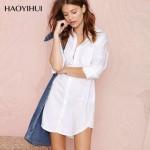 好衣汇 春夏装性感中长款BF风长袖工装女式衬衫宽松衬衣睡衣 4色可选