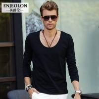 Enjeolon英爵伦 男士性感大圆领低领纯色长袖T恤 纯棉打底衫 4色可选