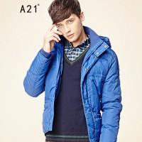 以纯A21 冬装新款男装 时尚休闲保暖连帽羽绒服外套7341153518