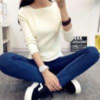 兰夕子 秋冬新款一字领毛衣女装外套针织衫短款套头修身长袖纯色打底衫 5色可选