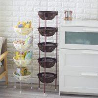 微佳达 塑料蔬菜水果厨房置物架收纳筐落地多层储物用品用具放菜篮架子 3层