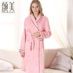 颂美 秋冬季珊瑚绒睡袍加厚睡衣纯色法兰绒浴袍浴衣女士家居服 2款可选