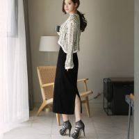 范茜玟 夏秋女装韩版包臀裙棉质修身显瘦高腰中长款一步裙子后开叉半身裙子