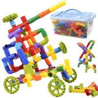 caipo 儿童拼插装塑料管道积木男孩儿童水管积木玩具3-8周岁38件装