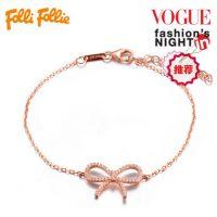 FolliFollie芙丽芙丽 轻奢时尚丝带造型925银女士手链3B16S039C 玫瑰金