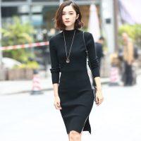 卡斯莉娅 韩版新款半高领毛衣外套女中长款秋冬季长袖修身打底套头针织衫裙 4色可选