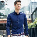 七匹狼 长袖衬衫 2016秋季新品 男士纯色休闲时尚青年商务天丝衬衣 8色可选