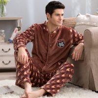 岩石草 男士睡衣秋冬季加厚加绒珊瑚绒男女家居服套装长袖秋季法兰绒 多款可选