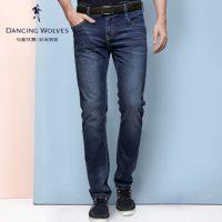 与狼共舞 牛仔裤新款时尚休闲男士直筒精品水洗男装长裤189114500 罗志祥同款 2色可选