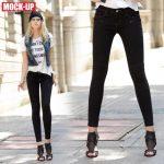MOCK·UP 冬季新款黑色中腰牛仔裤 女士铅笔长裤 弹力显瘦小脚裤