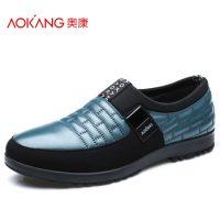 奥康 男鞋春秋季男士休闲鞋商务休闲皮鞋懒人鞋真皮低帮鞋子 3色可选