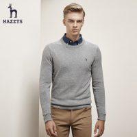 Hazzys哈吉斯 秋冬新款圆领休闲羊绒毛衫 男装长袖英伦纯色针织衫毛衣 6色可选