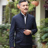 劳狮劳仑 秋季中老年人男装父亲加厚外套中年男士立领薄款夹克衫爸爸装