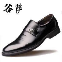 谷萨 冬季男士皮鞋加绒真皮爸爸鞋尖头牛皮正装商务男鞋休闲英伦 10款可选