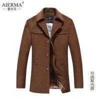 爱尔马 中年男士羊毛呢大衣正品男装时尚风衣休闲加厚呢子外套 6款可选