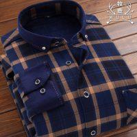 牧鹿 男士保暖衬衫男长袖格子加绒加厚修身秋冬季休闲衬衣寸衫男装 多款可选