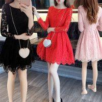 艾诺黛 春装2017新款女韩版气质修身蕾丝连衣裙春秋时尚红色长袖蓬蓬短裙 6色可选