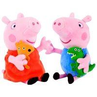 Peppa Pig小猪佩奇 正版毛绒玩具 佩琪乔治娃娃公仔一家四口礼盒装 19cm
