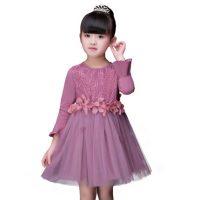 南极人 童装女童连衣裙春季新款宝宝纱裙裙子儿童喇叭袖纯棉公主裙 3色可选